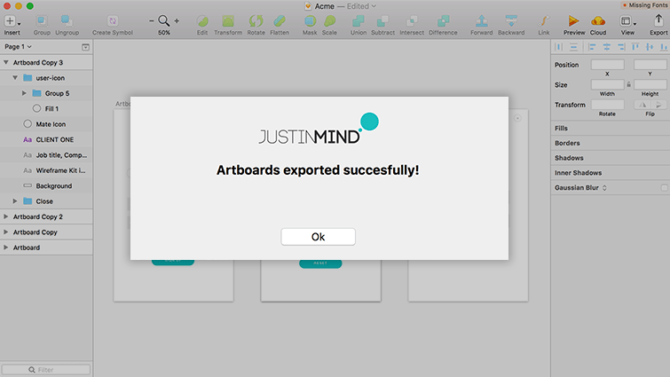 artboards exported successfully