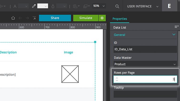 change rows per page