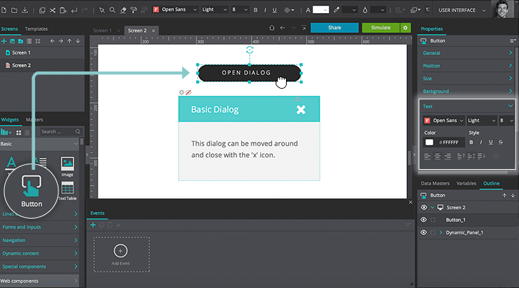 How to prototype interactive dialogs and popups