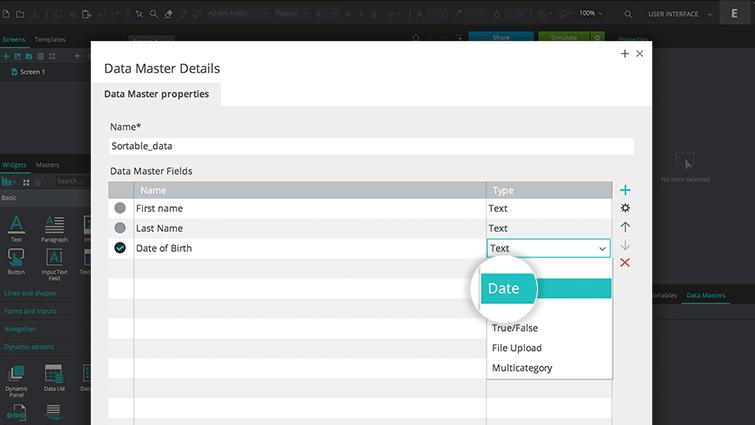 data master sortable data