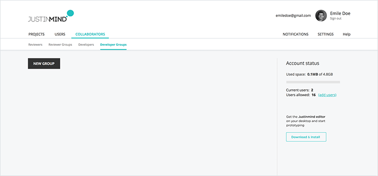 developers groups sub-tab