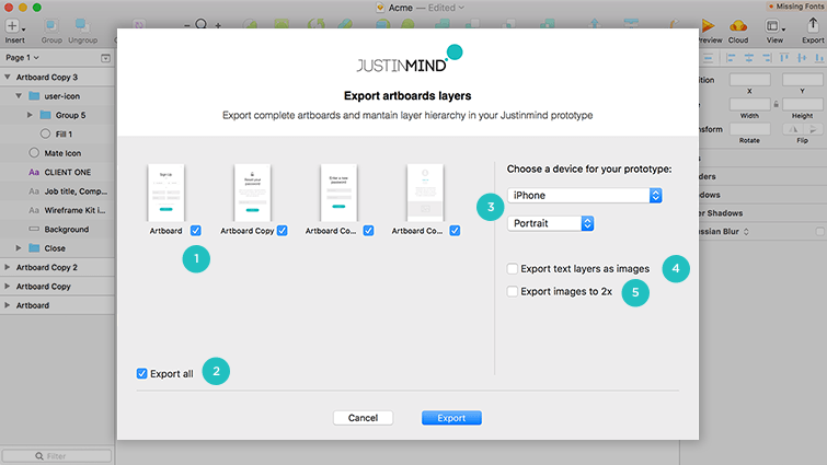 export artboards layers dialog