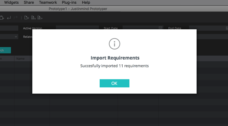 import requirements dialog