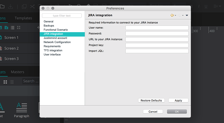 justinmind mac menu jira integration