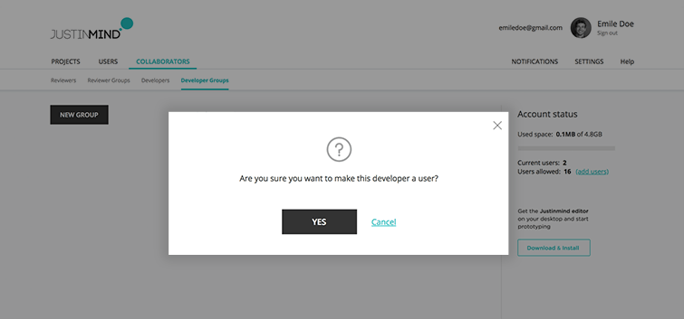 make developer a user confirmation dialog