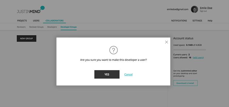 make developer a user confirmation dialog