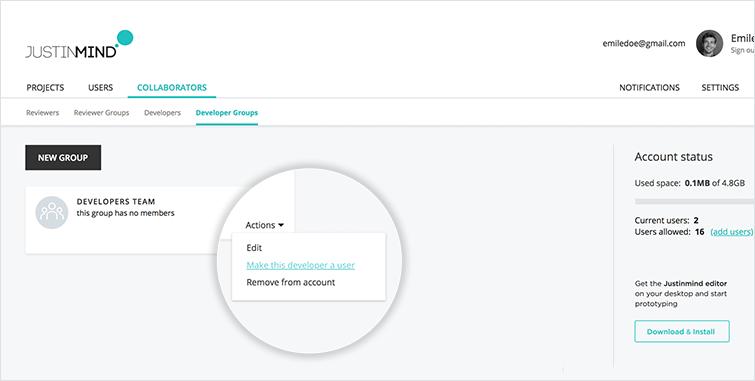 make developer a user