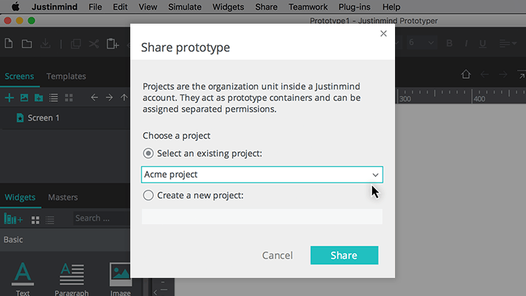 share prototype modal