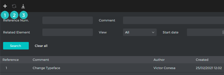 the comments toolbar
