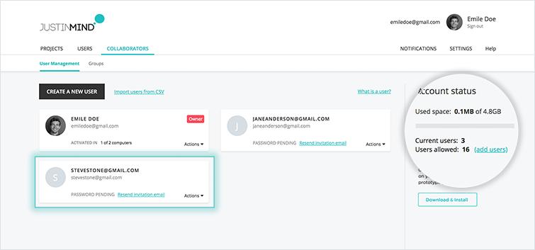 user management tab new user developer