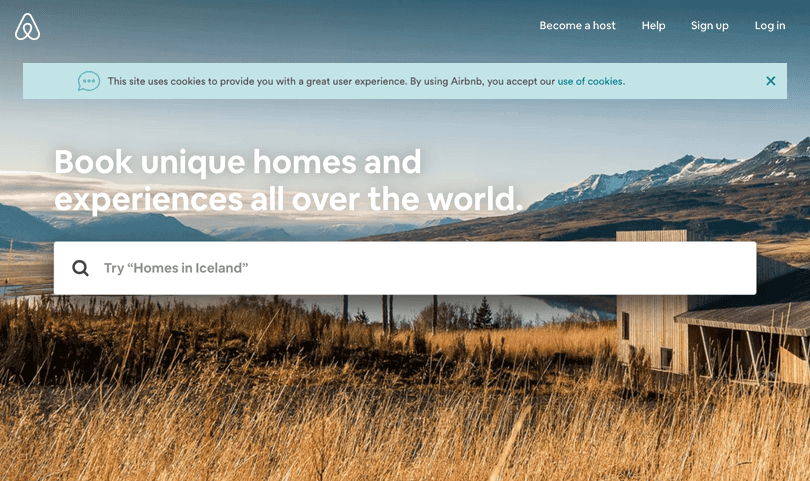 airbnb inline header for cookies disclaimer in web design
