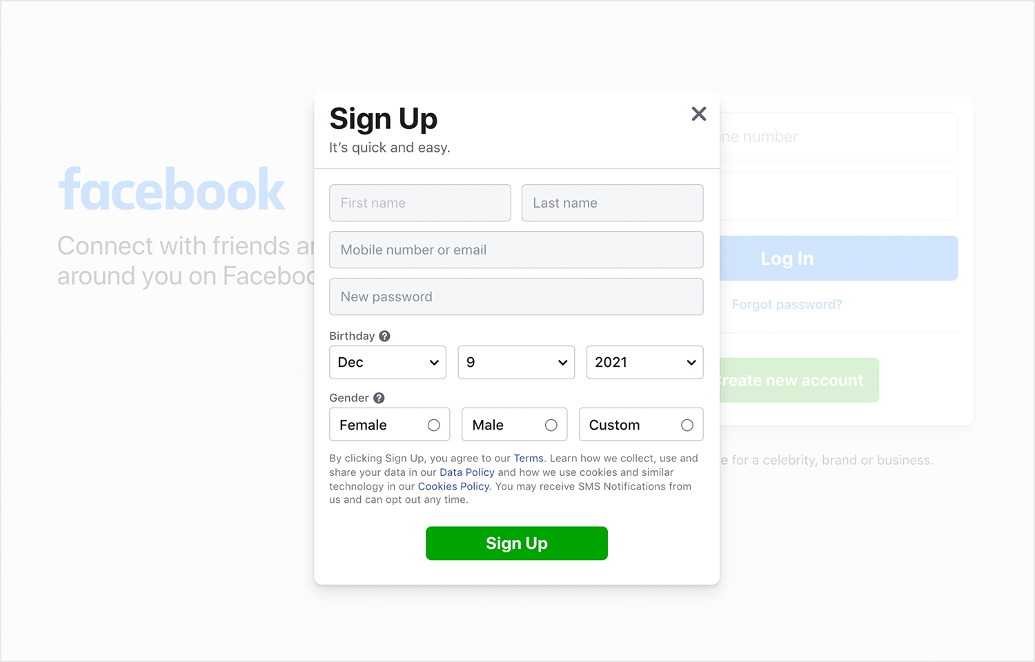 facebook-sign-up-form