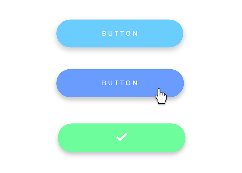 example of 3 button states- normal hover and pressed