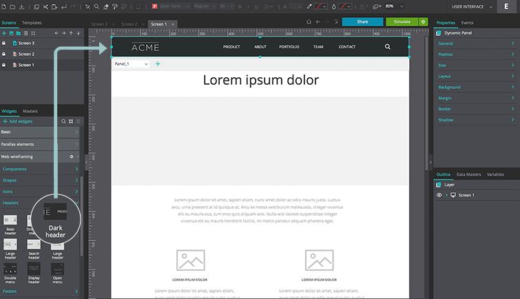 Header widget web wireframing library