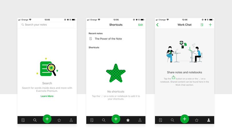 empty state screens in evernote with great ux