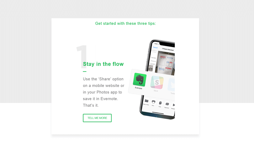welcome email for users from evernote
