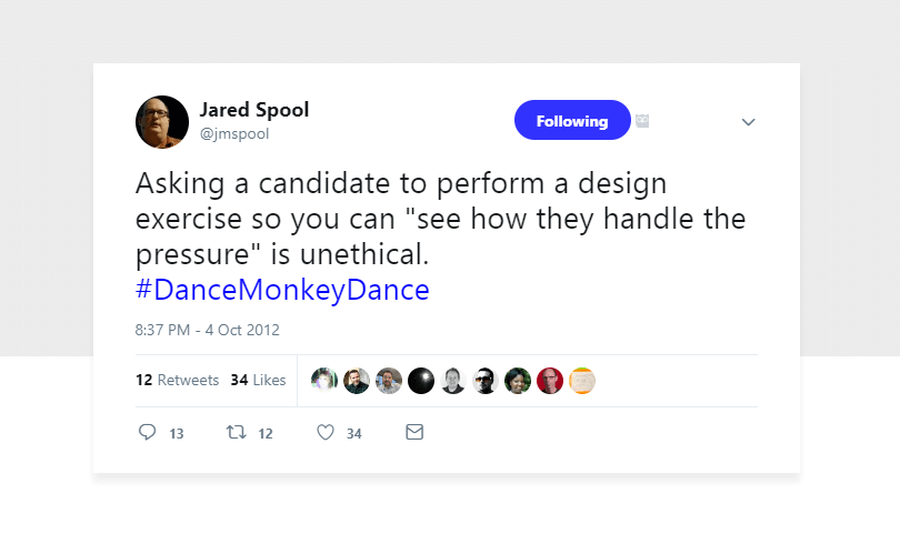 Jared Spool - design exercises make little sense for candidates or companies