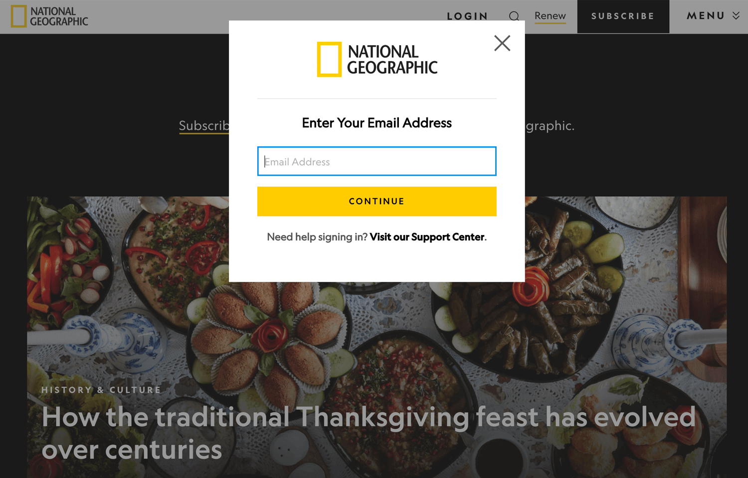 national geographic simple login form