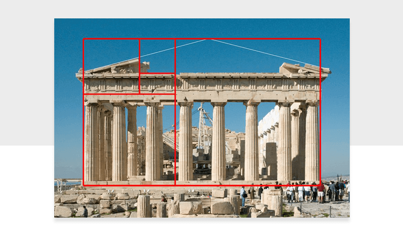 parthenon with golden ratio overlay as example