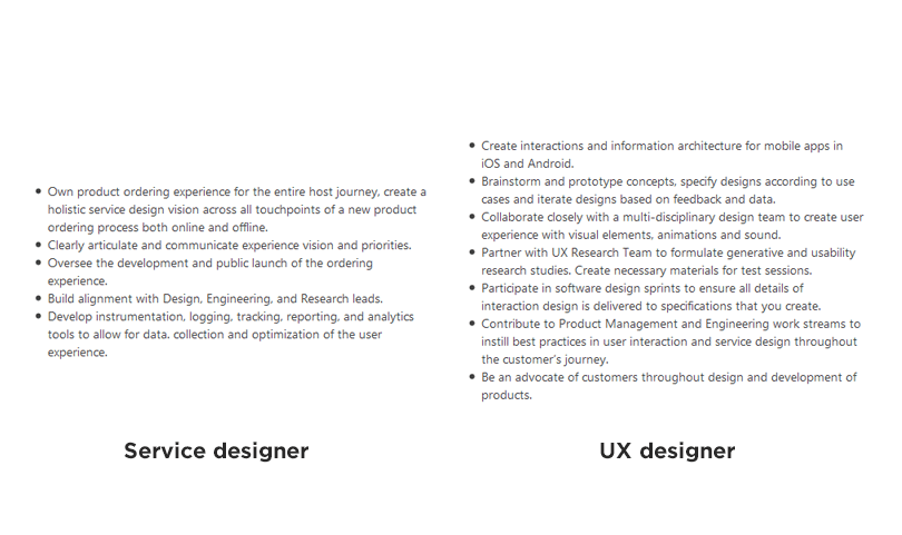 Service design vs UX design - different responsibilities