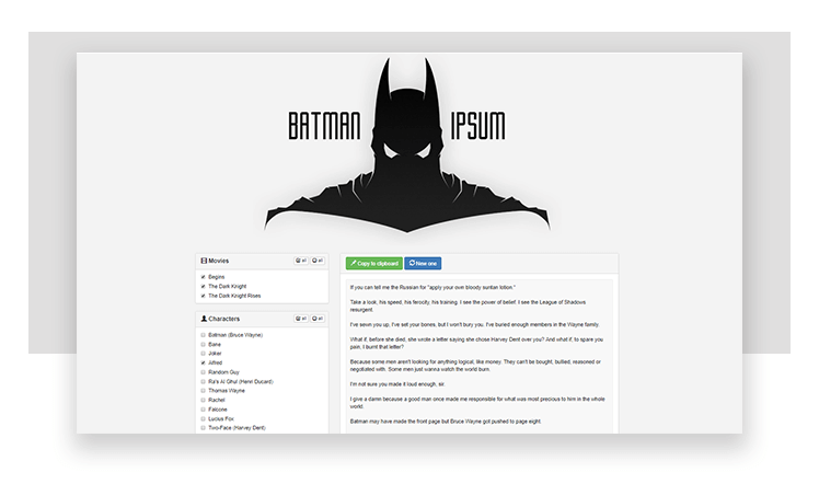 lorem ipsum alternatives - batman movie lines generator