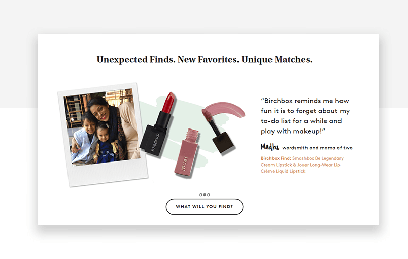 Testimonial example number four - Birchbox makeup service