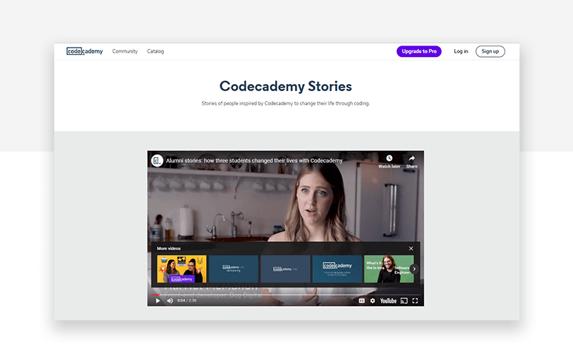 testimonial examples three - codecademy video form interview