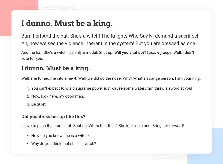 Lorem Ipsum alternative example of Monty Python text generator