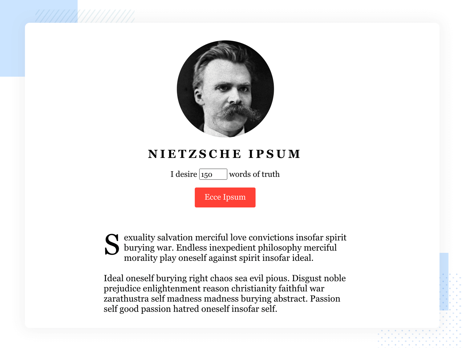 Lorem Ipsum alternatives example German philosopher text generator