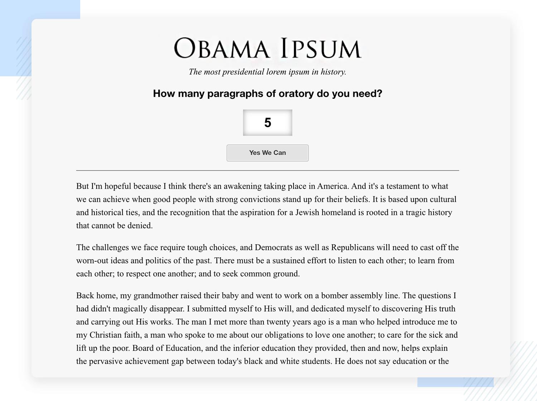 lorem ipsum alternatives - obama ipsum