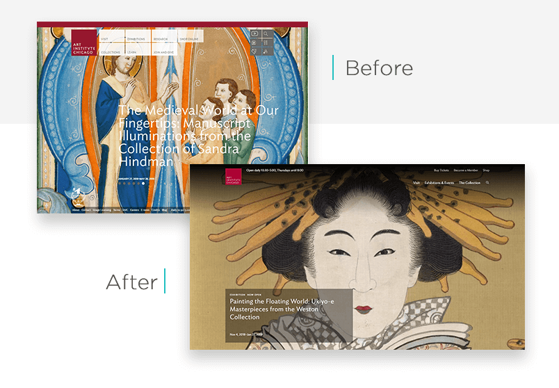 Art Institute of Chicago website redesign - before and after - Justinmind