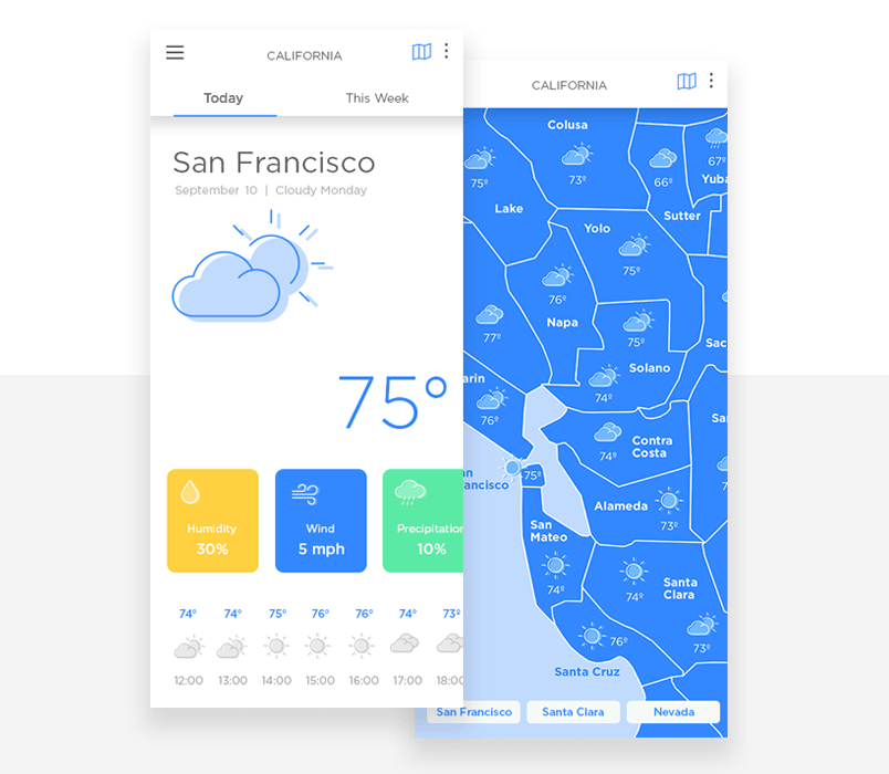 Design a modern weather app with zoom and pan in Justinmind