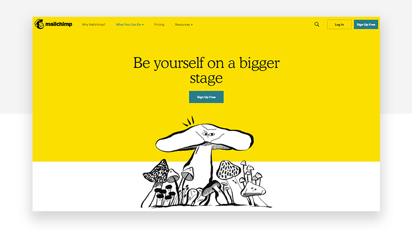 Mailchimp's new features page - website redesign - Justinmind