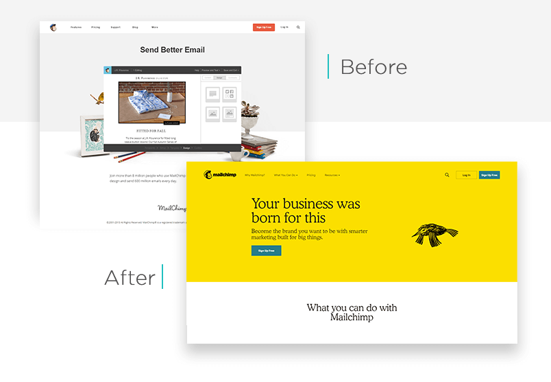 Mailchimp website redesign - before and after - Justinmind
