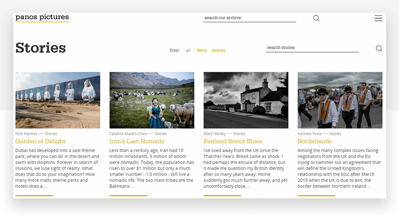 Panos Pictures - new stories page - website redesign - Justinmind