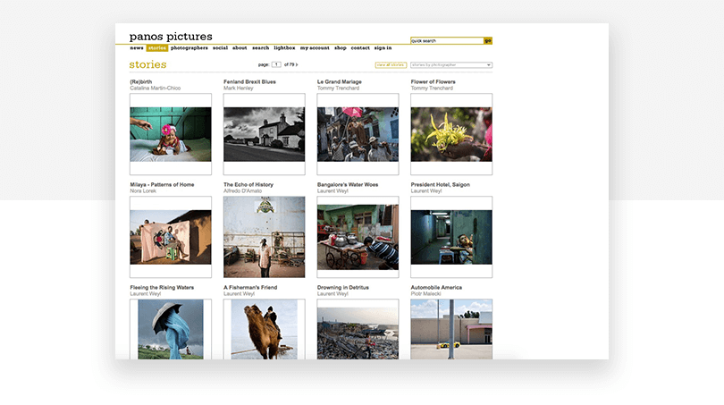 Panos Pictures - old stories page - website redesign - Justinmind