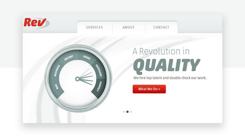 Rev.com's old carousel - website redesign - Justinmind