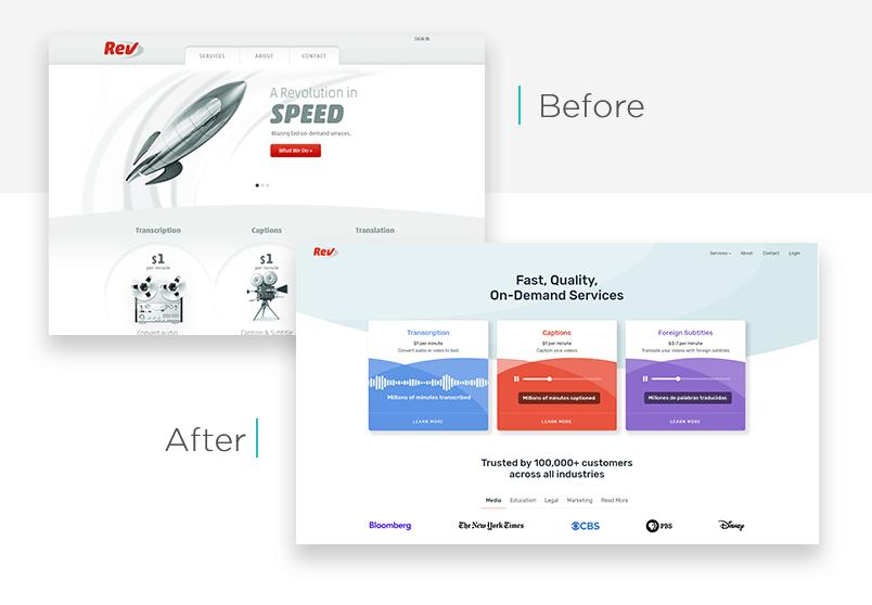 Rev.com website redesign before and after - Justinmind