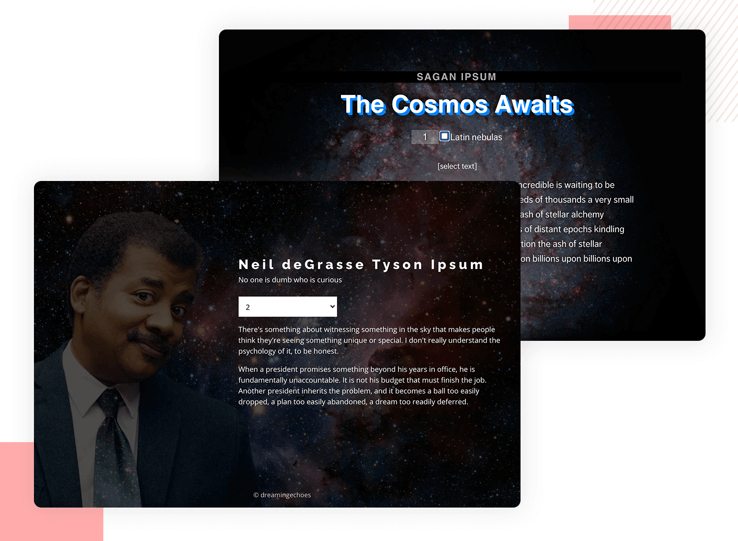 lorem ipsum alternatives - cosmic talk generator (Sagan and Tyson)