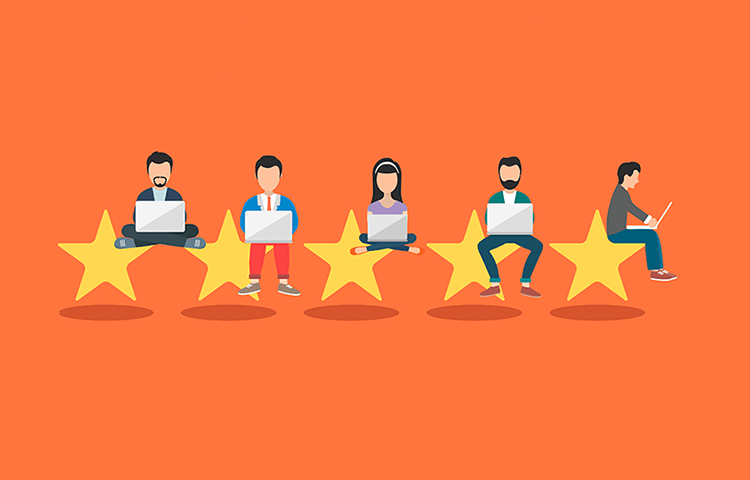 Testimonial examples for inspiration - several people on stars (rating system)
