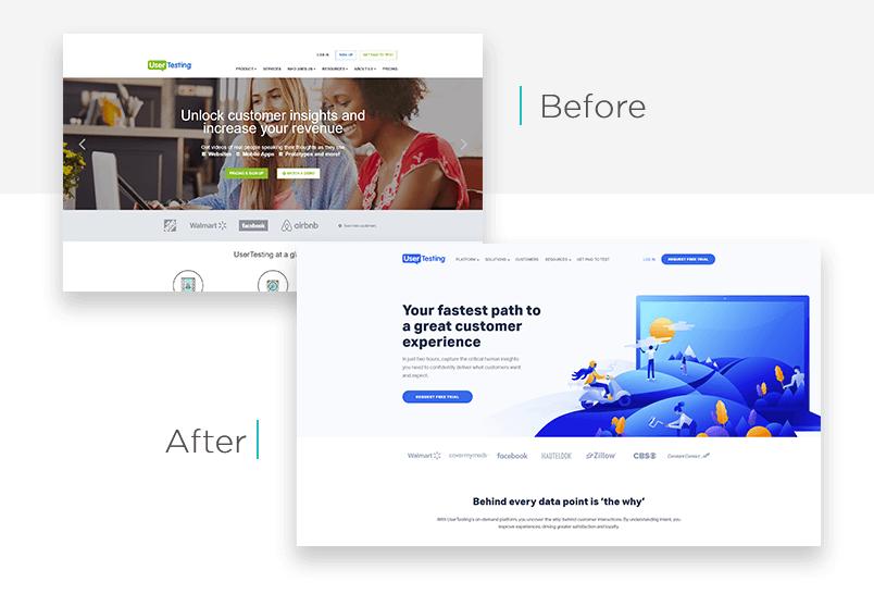 UserTesting website redesign - before and after - Justinmind