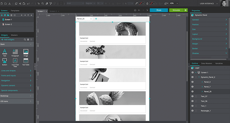 All sub panels in the one column view
