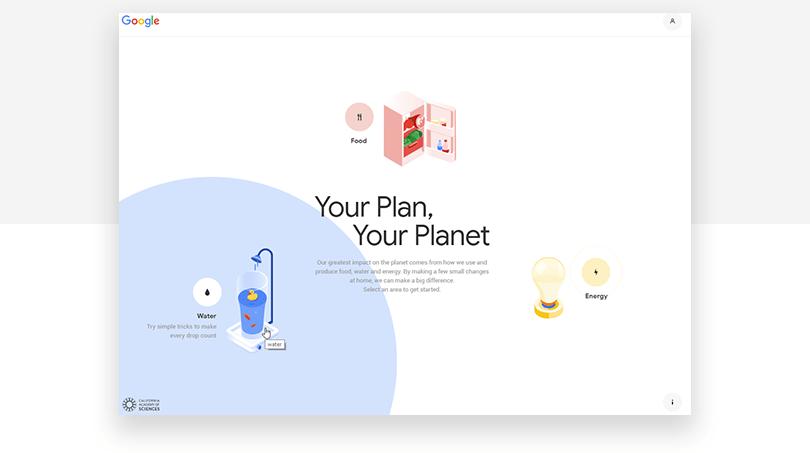 Google Sustainability - web design trends 2019 - Justinmind