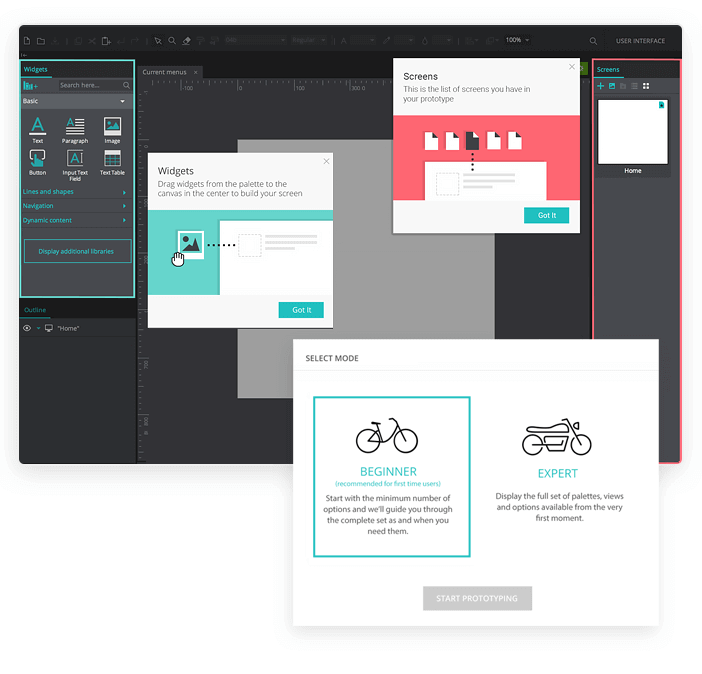 Giving users control over user onboarding experience - Justinmindmind prototyping tool example