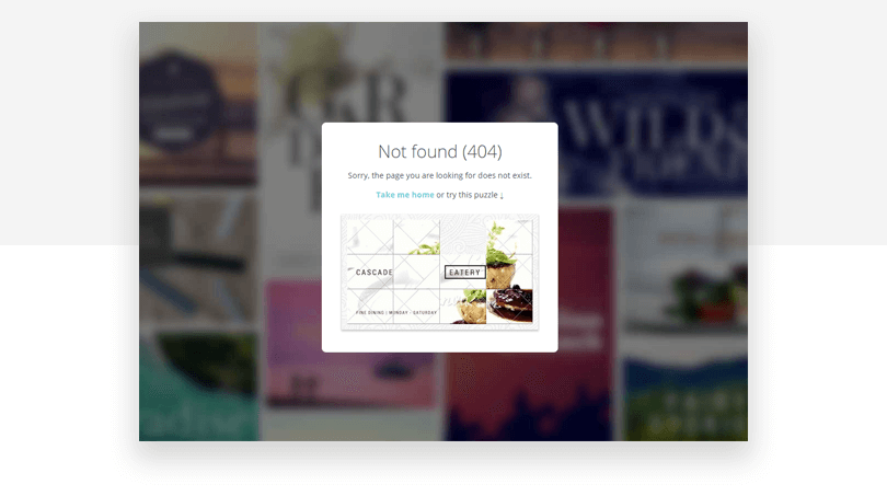 Canva 404 page design example