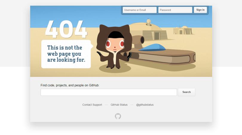 Github 404 page - Justinmind