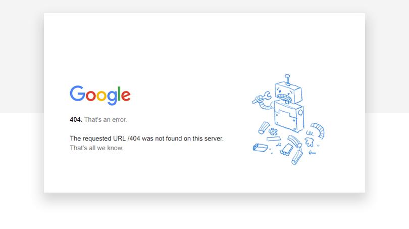 Google 404 page - Justinmind
