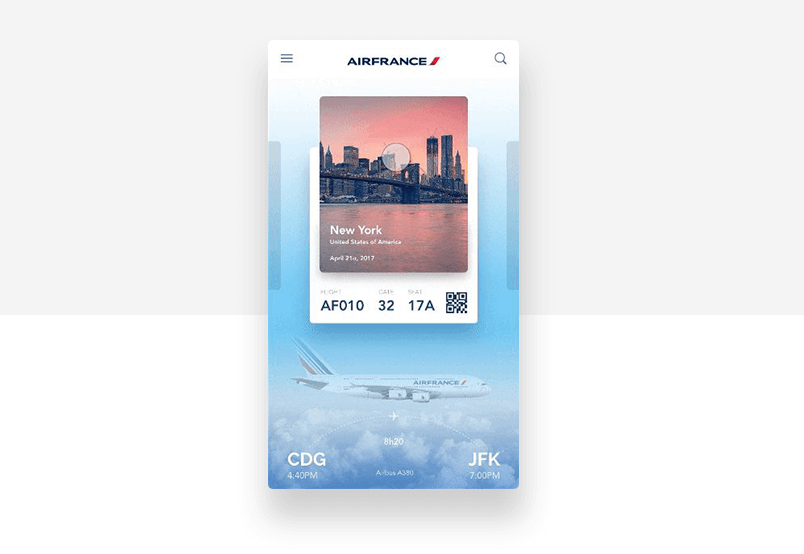 Airfrance fading gradient in graphic background