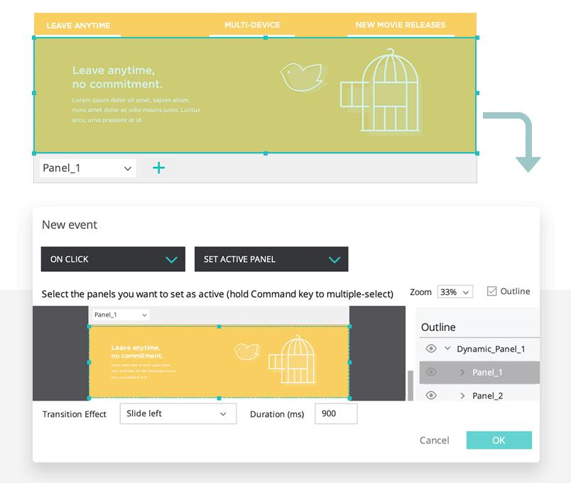 setting up dynamic panel for landing page design - justinmind