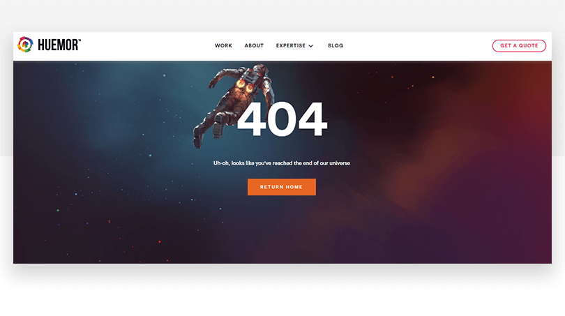 Huemor 404 page example of good ux